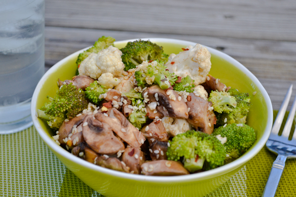 marinated mushroom & broccoli