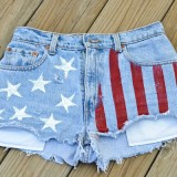 DIY American Flag Shorts {made with a potato stamp}