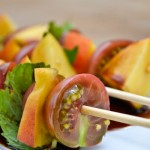 peach & tomato skewers