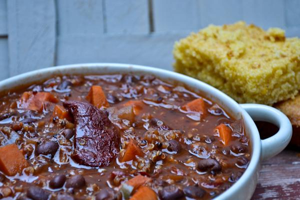 red quinoa sweet potato chili