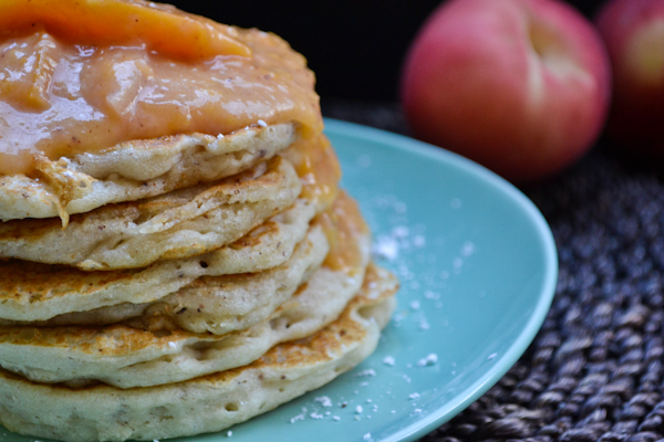 vegan & gluten-free Banana Pancakes with a Peach Compote Sauce