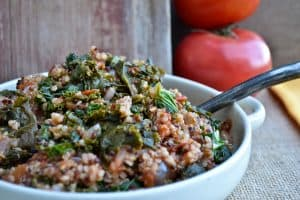 Stewed Tomatoes Quinoa & Kale