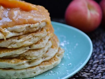 Vegan & Gluten Free Banana Pancakes With A Peach Compote Sauce