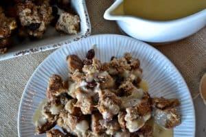 Bread Pudding With Eggnog Cream Sauce {vegan}